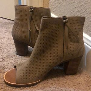 TOMS Open Toe Heeled Ankle Boots (Taupe)